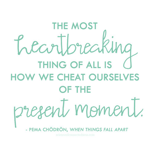 The most heartbreaking thing of all is how we cheat ourselves of the present moment. - Pema Chodron, When Things Fall Apart