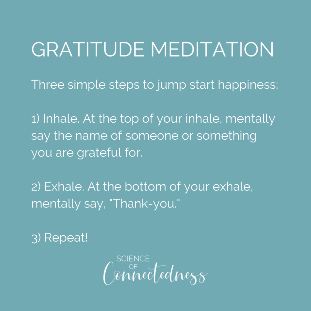 "Gratitude Meditation Three simple steps to jump start happiness; 1) Inhale. At the top of your inhale, mentally say the name of someone or something you are grateful for. 2) Exhale. At the bottom of your exhale, mentally say, ""Thank-you."" 3) Repeat!"