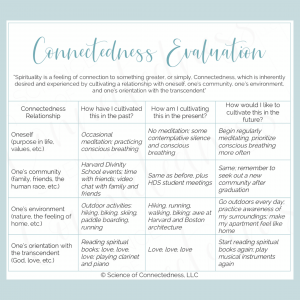 Connectedness Evaluation Table