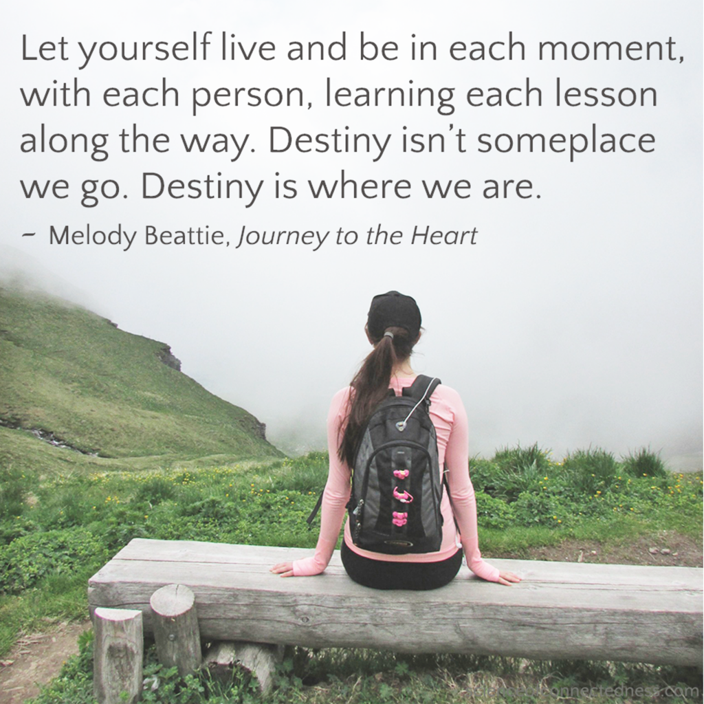 Let yourself live and be in each moment with each person, learning each lesson along the way. Destiny isn't someplace we go. Destiny is where we are. - Melody Beattie, Journey to the Heart