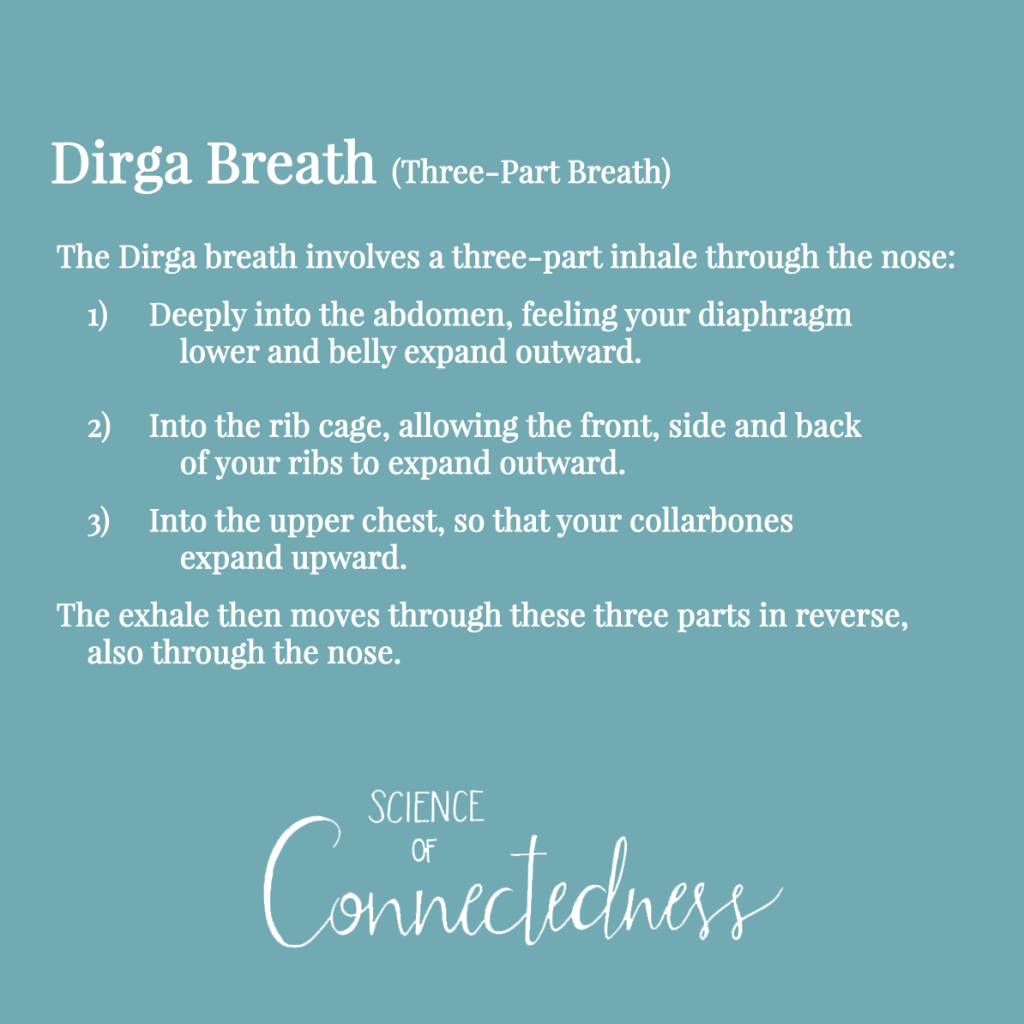 Dirga Breath (Three-Part Breath). The Dirga breath involves a three-part inhale through the nose: 1) Deeply into the abdomen, feeling your diaphragm lower and belly expand outward. 2) Into the rib cage, allowing the front, side, and back of your ribs to expand outward. 3) Into the upper chest, so that your collarbones expand upward. The exhale then moves through these three parts in reverse, also through the nose.