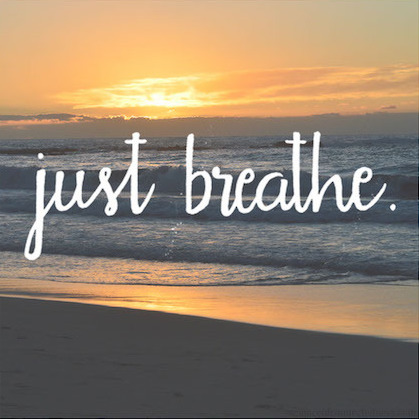 Just Breathe - hand-lettered over beach sunset