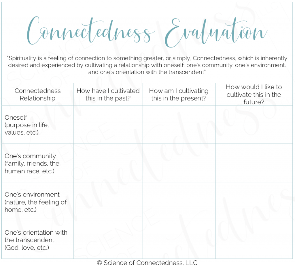 Blank Connectedness Evaluation Table