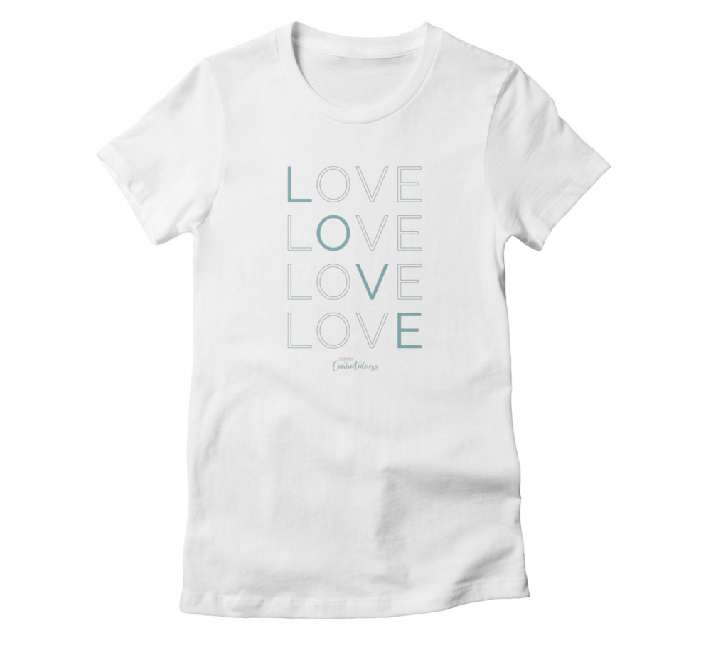 Women's white tshirt LOVE LOVE LOVE LOVE in blue