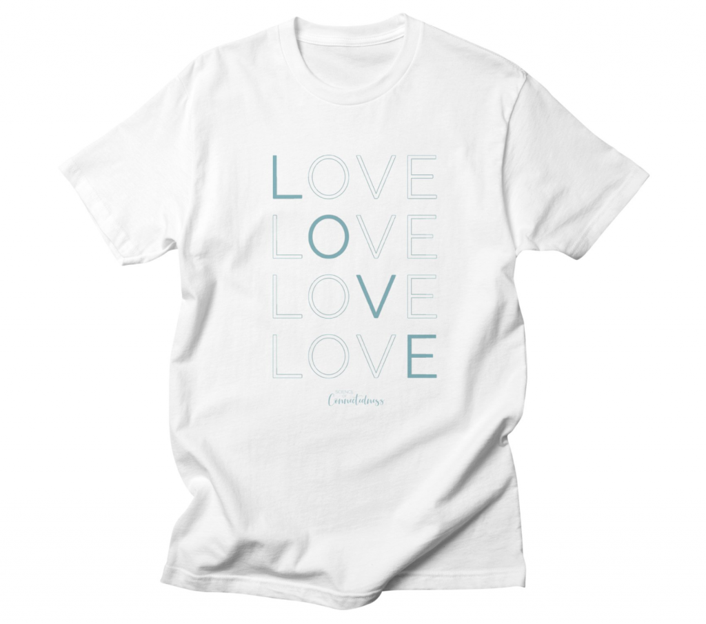 Men's/Unizex white tshirt LOVE LOVE LOVE LOVE in blue
