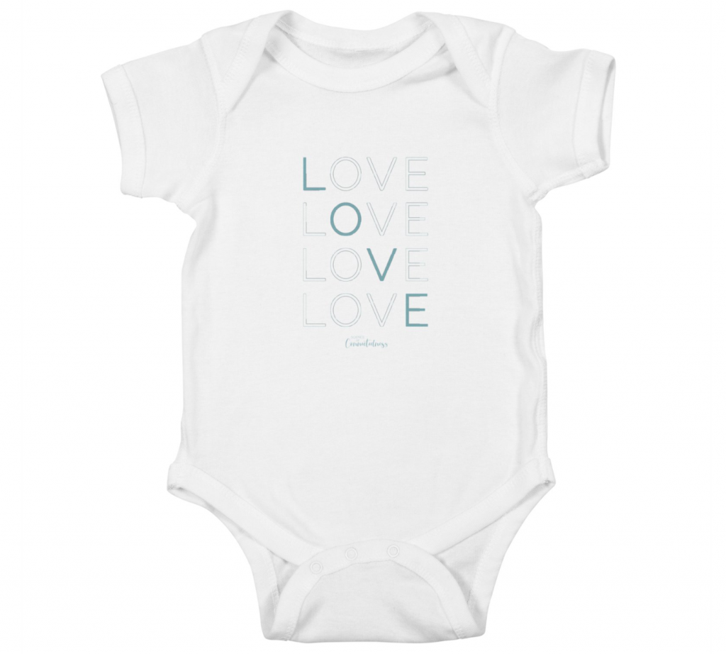 Baby onesie White LOVE LOVE LOVE LOVE in blue