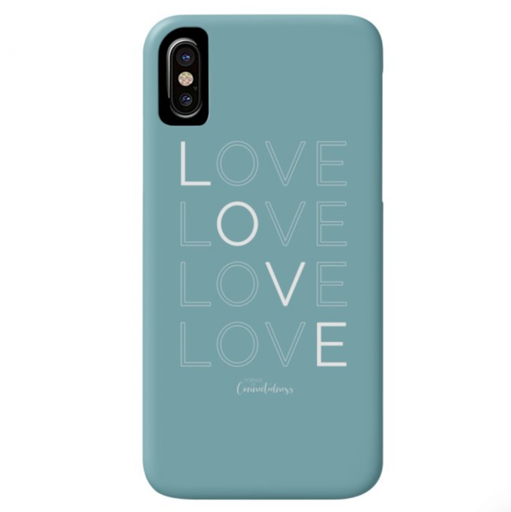 Blue phone case with LOVE LOVE LOVE LOVE printed on it