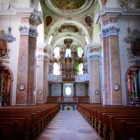 Inside the Parish Church of St. Mang ( Stadtpfarrkirche St. Mang), Fussen, Germany
